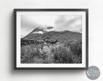 Mountain Print, Wilderness Print, Black And white Photography, Printable Art, Scotland Mountain Print, Mountain Decor, Modern Home Decor