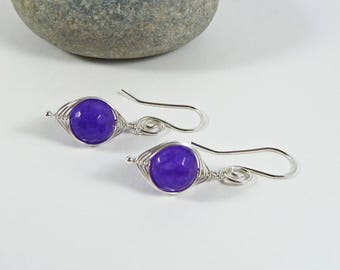 Purple Amethyst Earrings, February Birthstone, Wife Gift, 6th Anniversary Gift, 925 Sterling, Protection Stone, Gemstones, Wire Wrap Earring