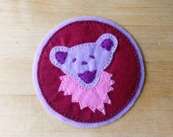 Lavender & Light Pink Jerry Bear: felt patch