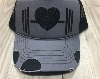 Glitter Barbell With Heart Trucker Distressed Hat Mesh Workout Hat Women's Fitness