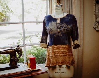Hippie Denim Dress with Contrasting Ruffle