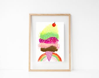 Ice Cream Art. Food Art. Girls Room Wall Art. Foodie Gift. Playroom Decor. Summer Art. Dessert Painting. Ice Cream Cone Art. Gifts for Kids.