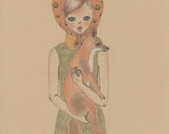 Girl and fox art print