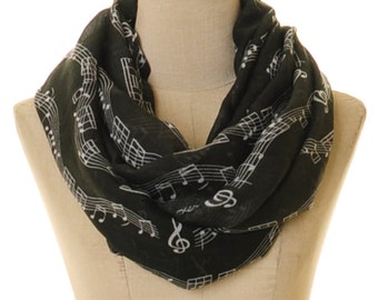 Black Music Scarf   Music Note Scarf   Music Note Infinity Scarf   Piano Scarf   Musician Gift   Pianist Scarf   Black Scarf S-105B