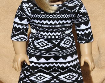 Black and White Aztec Dress-Made to fit 18 inch Dolls like American Girl Doll Clothes