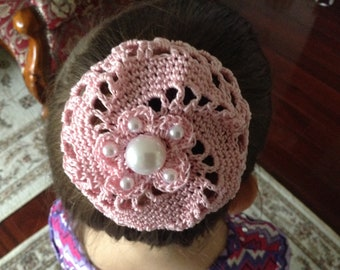 Crochet Hair Bun with pearls, Medium Crochet Bun Cover, Bun Holder, Ballet Bun Cover.