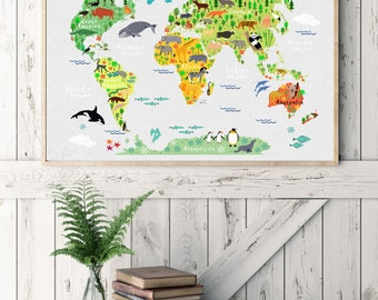 Custom canvas map etsy custom map poster map poster print map canvas print kids art map gumiabroncs Image collections