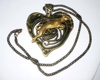 Rustic Bronze Heart Pendant wVintage Gold Plated Leaping Greyhound / Whippet Dog, Bronze Necklace