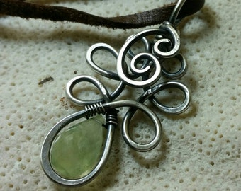 Sterling Silver Forest Elf Pendant with a Green Quartz Gemstone on a Soft Suede Cord - Handmade and Oxidized