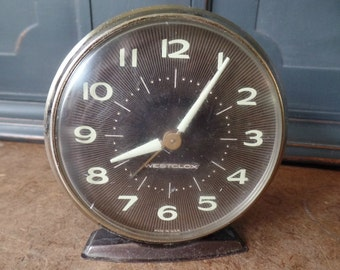 Vintage Westclox Alarm Clock, Brown, Bedside, Collectible