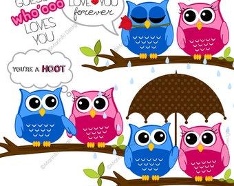 Owls Clipart, Cute Owl Clip Art, Owl Invitations, Owl Digital Papers, Valentine's Card Scrapbook INSTANT DOWNLOAD CLIPARTS C29