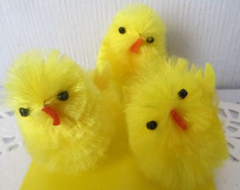 "3 Fuzzy chenille chicks,yellow peeps, 1-3/4,"",vintage style,easter decor,easter crafts,easter decoration"