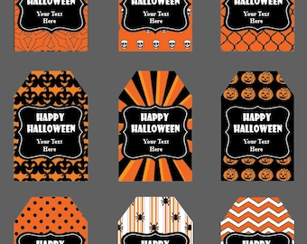 18 Halloween Tags, Instant Download, Thank you Tags, Thank you labels, Party Favors, Printable Party, DIY Halloween, Halloween Treat tags
