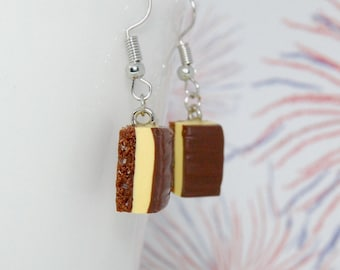 Canadian Nanaimo bar earrings, celebrate Canada's 150th birthday, truly Canadian desserts available in clip on pierce less style