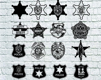 Police Badge SVG Bundle, Police Badge Dxf, Sheriff Badge Clipart,Cut Files For Silhouette,Files for Cricut, Sheriff Star Dxf, Png, Eps,Decal