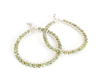 Silver hoop earrings with wire-wrapped jade czech-glass beads // gifts for her // birthday gifts // handmade earrings // large hoop earrings