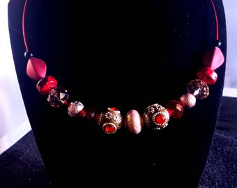 Bold red and bronze statement necklace