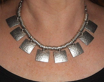 Silver necklace, statement necklace, boho chic metal necklace, unique necklaces, silver ethnic boho jewelry, metal jewelry, mothers day