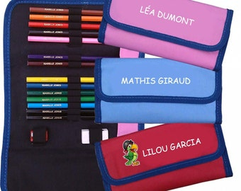 Personalised Colouring Pencils & Case, school pencil case, children's art set,personalised pencil case, school pencils, kids pencil set