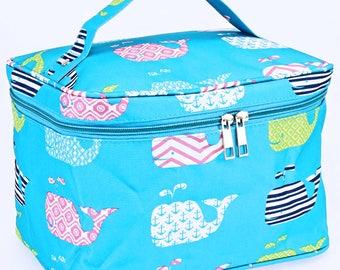 Blue Whale Large Cosmetic Bag | Monogram Makeup Bag | Blue Makeup Bag| Monogram Cosmetic Bag | Oversized Makeup Bag | Travel Accessory Bag
