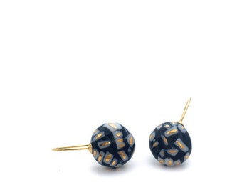 Classic ceramic gold earring, porcelain jewelry, solid 18k gold earrings, pottery and ceramic, Black dangle, Delft blue, gift for mom