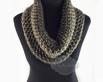 Brown Tweed Crochet Scarf, Crochet Cowl, Brown Heather Infinity Scarf, Taupe Neck Warmer, Handmade Crochet Scarf, Snood Scarf