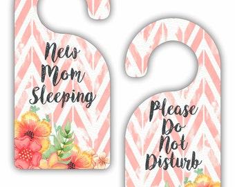 New Mom Sleeping - Please Do Not Disturb - Bedroom Double-Sided Room Door Sign Hanger