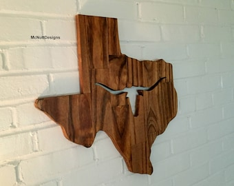 Texas with Longhorn Cut Out