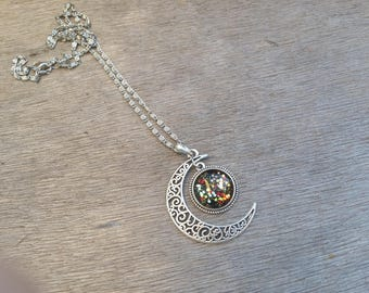 Gold and red and Black Moon necklace