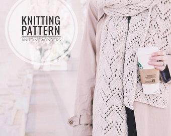 KNITTING PATTERN ⨯ Lacy Knit Scarf, Long Blanket Scarf ⨯ Easy Knitting Pattern, Long Lacy Scarf ⨯ Long Knit Blanket Scarf Shawl Scarf