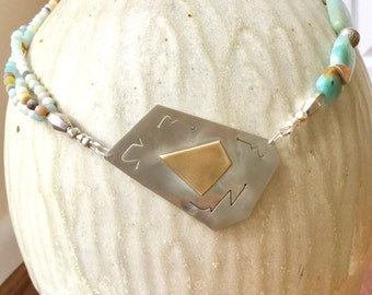 Asymmetrical Amazonite & Sterling Necklace