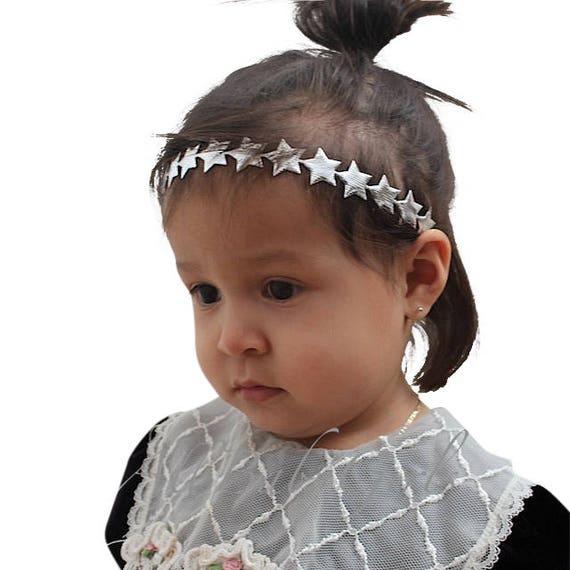 Baby Headband, Stars Headband, Silver Baby Headband, Silver Headband, Baby Silver Headband, Silver Newborn Headband, Infant Headband