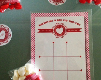 Valentine's Day Themed Tic-Tac-Toe Game - Valentine's Day Favor - Valentine's Day Game