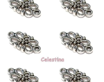 20 x Antique Silver Flower Connectors 15 x 8 mm - Filigree Links - LF NF -TS30