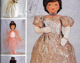 """Butterick 3115 Rachel Wallis 23"""" Doll Clothes Costume Sewing Pattern Bride Queen  Ballerina Dress UNCUT"""