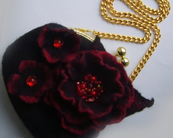 valentine's gift-red black women bag-clutch purse handmade-women coin purse-women clutch wallet-Felted wool bag-Felted wool purse
