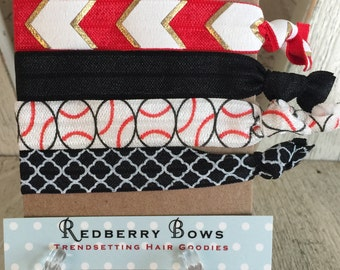 RED and BLACK BASEBALL Hair Tie Set of four-Free Shipping with another item