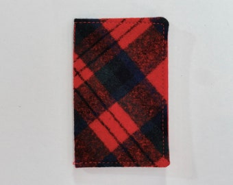 Red and Blue Vintage Pendleton Wool Plaid Mini Wallet