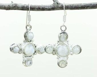 Moonstone 925 SOLID (Nickel Free) Sterling Silver Italian Made Dangle Earrings e612