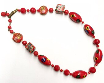 Vintage Choker 20s Necklace Venetian Murano Milifiore mosaic art glass Red Beads Antique Beaded Necklace 1920s flapper necklace