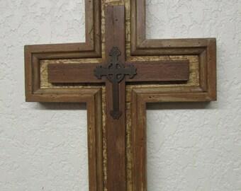 Reclaimed Cross- Rustic-13 x 17 in--Repurposed-Primitive--Vintage Look-Old Doors-Free Shipping-Wall Crosses