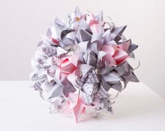 Paper flower bouquet, Pink, grey and white origami tulips, origami bouquet, wedding bouquet, alternative wedding bouquet