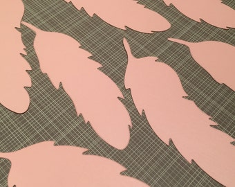 20 Thick Paper Feather Die Cuts, Baby Girl Shower Theme, Feather Decor, Coral Pink Feathers Scrap Booking 4.5 inch