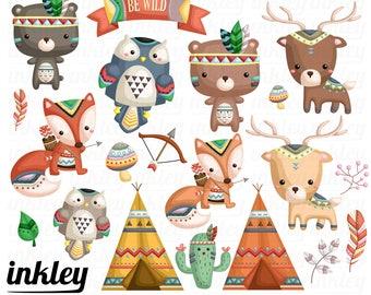 Tribal Animal Clipart, Tribal Animal Clip Art, Tribal Animal Png, Bear Clipart, Deer Clipart, Fox Clipart, Tent Clipart, Owl Clipart