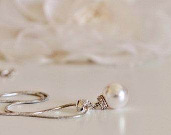 Single Pearl Necklace White Ivory Swarovski Pearl Wedding Necklace Bridesmaid Necklace Bridesmaid Gift Pearl Jewelry