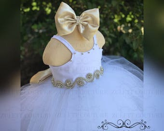 Baptism Dress - Mini Bride Dress - Flower Girl Dress - Lace Dress -  Big Bow Dress - Wedding Dress - Princess Dress by Zulett Couture