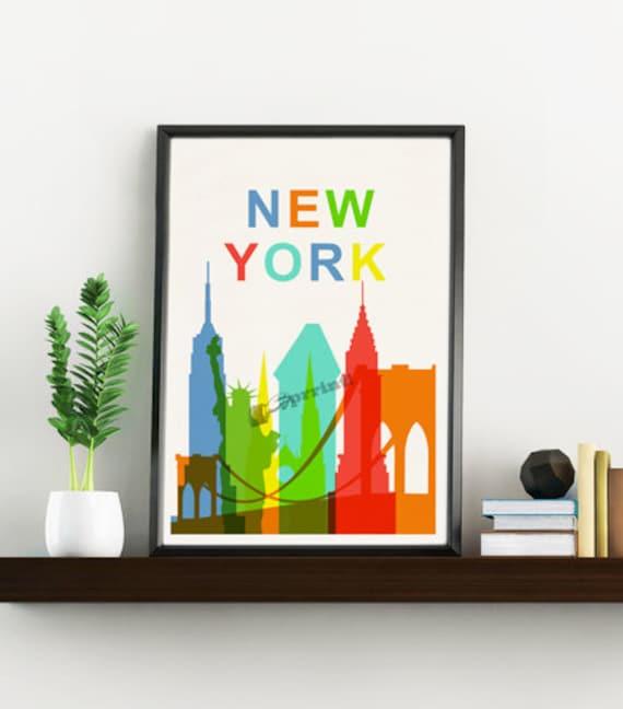 New York City skyline - Wall decor art print New York art Gift him, NY wall art Giclee print, City Skyline art TVH242WA4