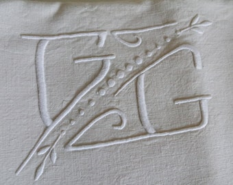 Vintage 30's raw linen C.G. initials embroidered sheet