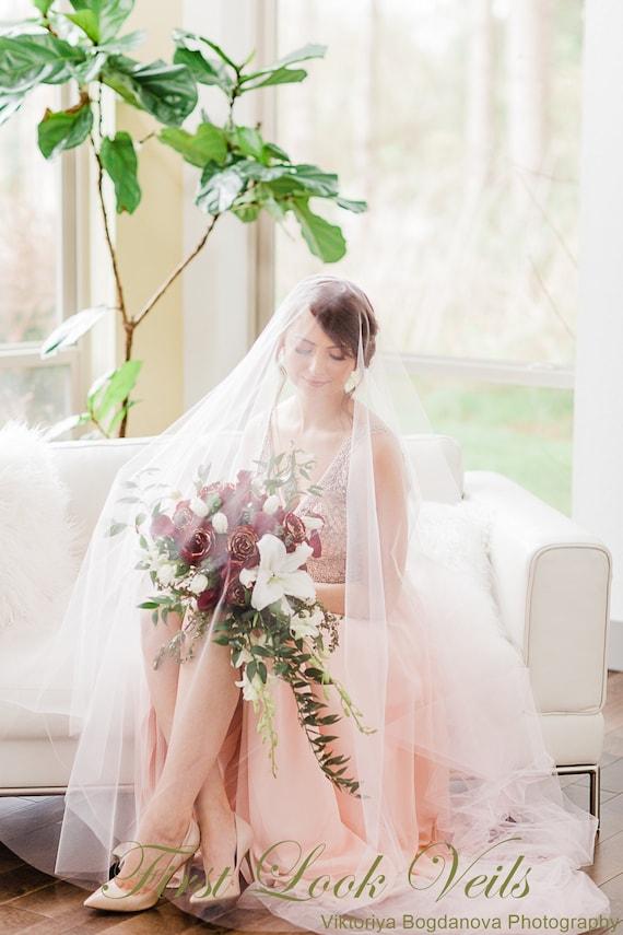 Wedding Veil, Bridal Veil, Cathedral Veil, Blush Pink, Drop Veil, Handmade, Bride, Accessory, Gift