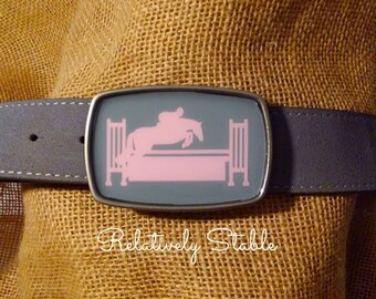 Equestrian belt buckle, hunter belt buckle in pink and grey-fits snap belts